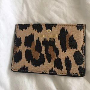 Kate spade leopard card holder